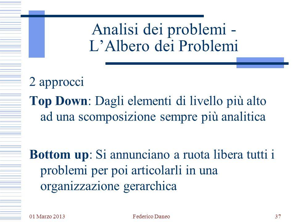 01 Marzo 2013 Federico Daneo37 Analisi dei problemi - LAlbero dei Problemi 2 approcci Top Down: Dagli elementi di livello più alto ad una scomposizion