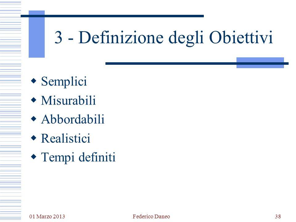 01 Marzo 2013 Federico Daneo38 3 - Definizione degli Obiettivi Semplici Misurabili Abbordabili Realistici Tempi definiti