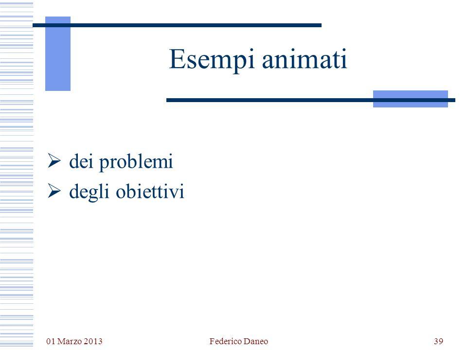 dei problemi degli obiettivi 01 Marzo 2013 Federico Daneo39 Esempi animati