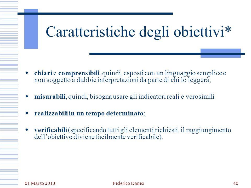01 Marzo 2013 Federico Daneo40 Caratteristiche degli obiettivi* chiari e comprensibili, quindi, esposti con un linguaggio semplice e non soggetto a du