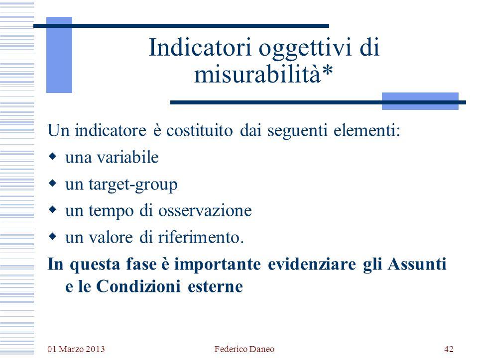 01 Marzo 2013 Federico Daneo42 Indicatori oggettivi di misurabilità* Un indicatore è costituito dai seguenti elementi: una variabile un target-group u
