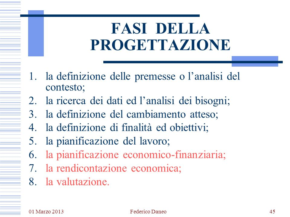 01 Marzo 2013 Federico Daneo45 FASI DELLA PROGETTAZIONE 1.la definizione delle premesse o lanalisi del contesto; 2.la ricerca dei dati ed lanalisi dei