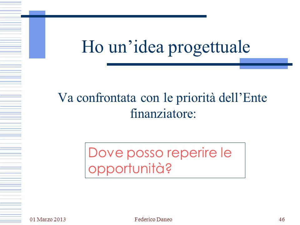 01 Marzo 2013 Federico Daneo46 Ho unidea progettuale Va confrontata con le priorità dellEnte finanziatore: Dove posso reperire le opportunità?