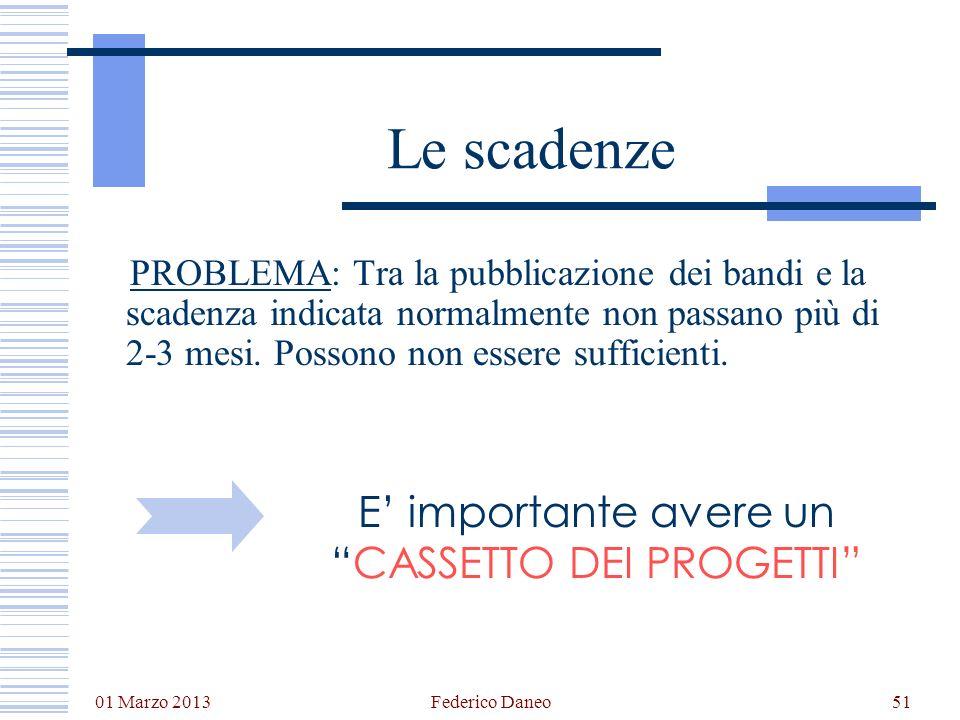 01 Marzo 2013 Federico Daneo51 Le scadenze PROBLEMA: Tra la pubblicazione dei bandi e la scadenza indicata normalmente non passano più di 2-3 mesi. Po