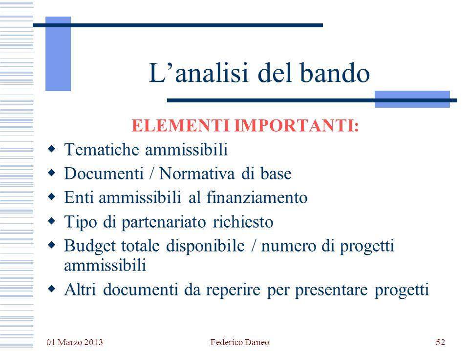 01 Marzo 2013 Federico Daneo52 Lanalisi del bando ELEMENTI IMPORTANTI: Tematiche ammissibili Documenti / Normativa di base Enti ammissibili al finanzi