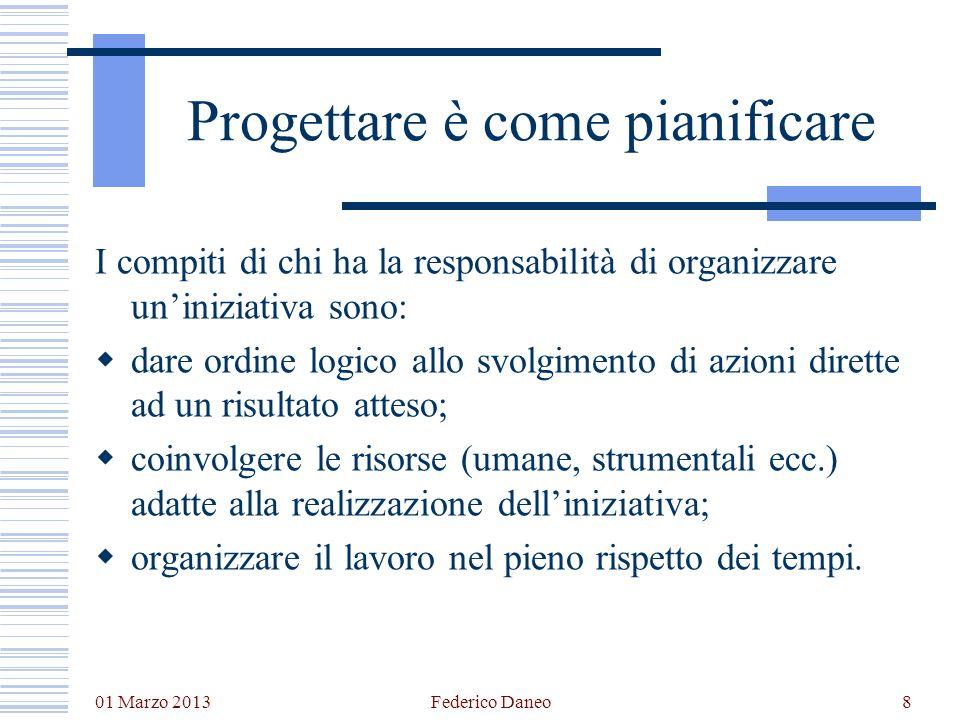 01 Marzo 2013 Federico Daneo8 Progettare è come pianificare I compiti di chi ha la responsabilità di organizzare uniniziativa sono: dare ordine logico
