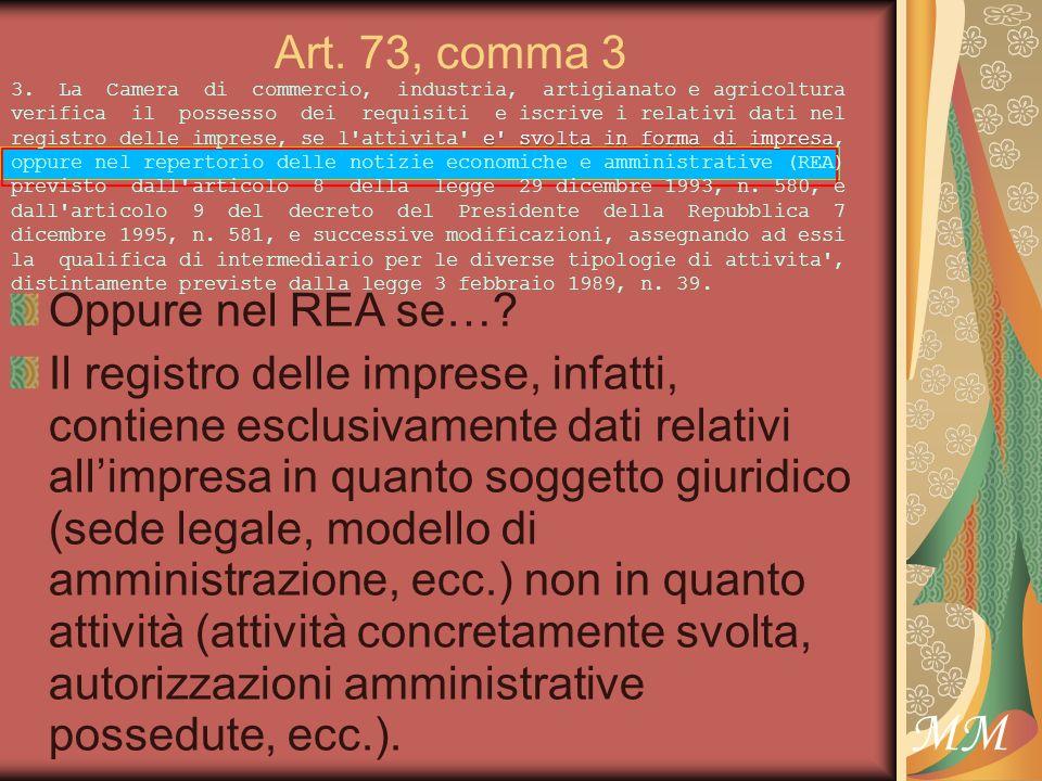 MM Art. 73, comma 3 Oppure nel REA se….