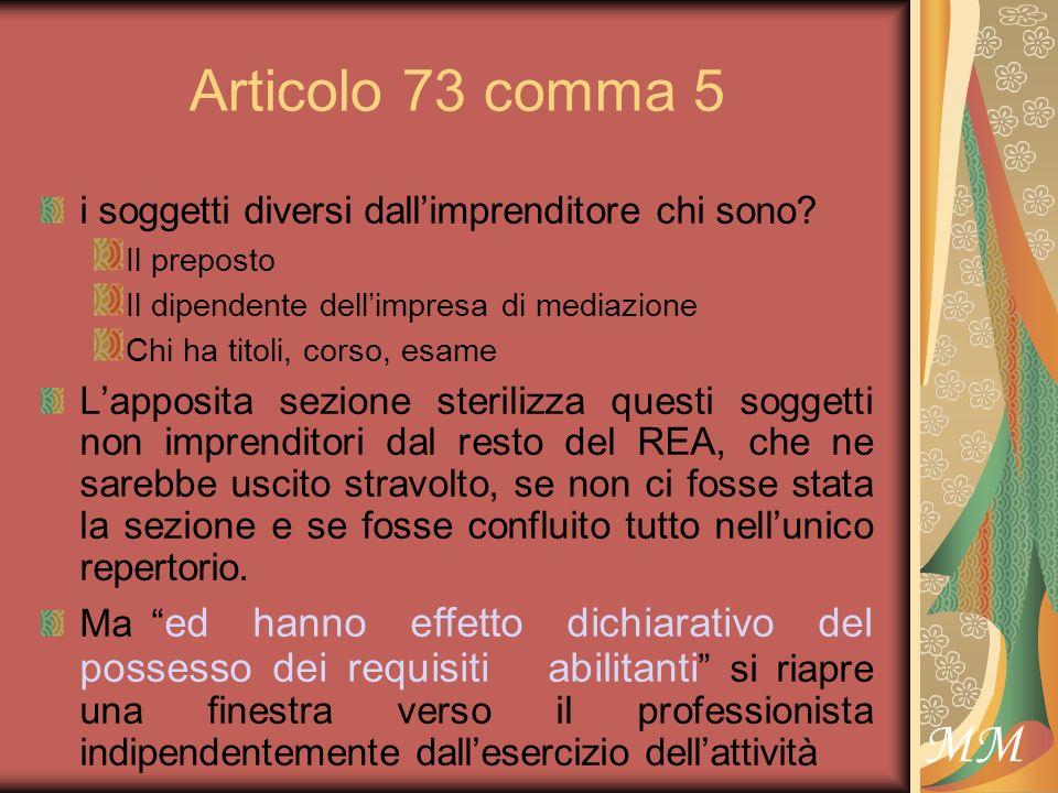 MM Articolo 73 comma 5 i soggetti diversi dallimprenditore chi sono.