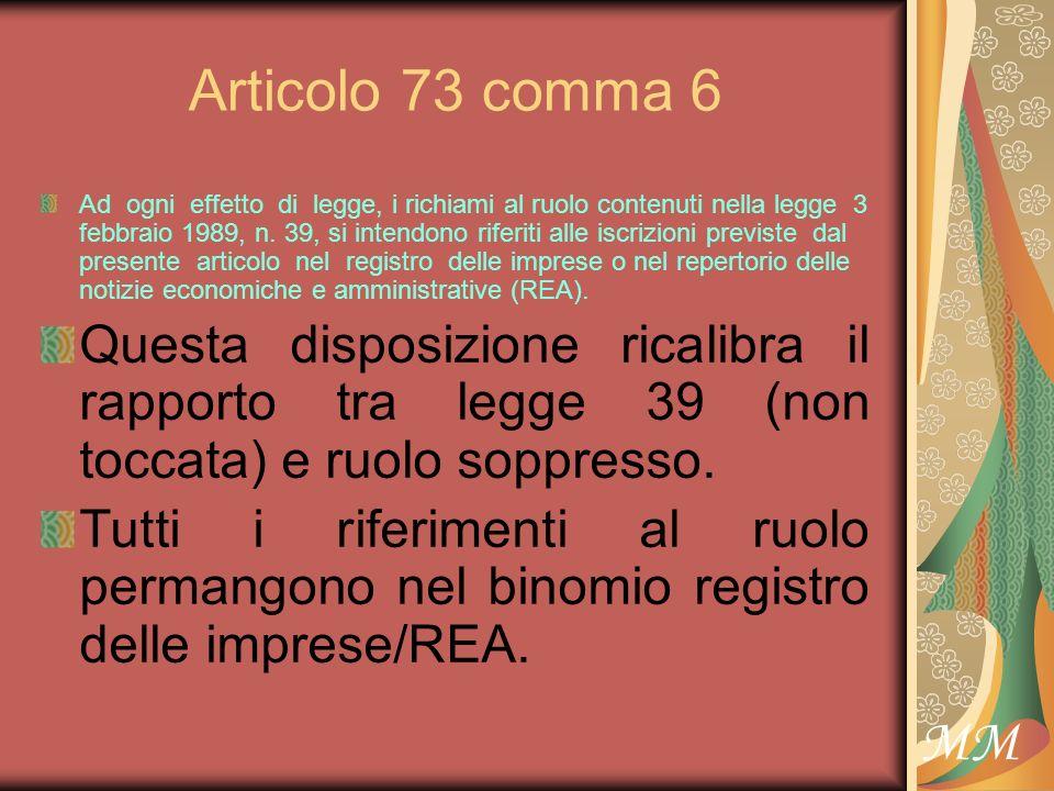 MM Articolo 73 comma 6 Ad ogni effetto di legge, i richiami al ruolo contenuti nella legge 3 febbraio 1989, n.