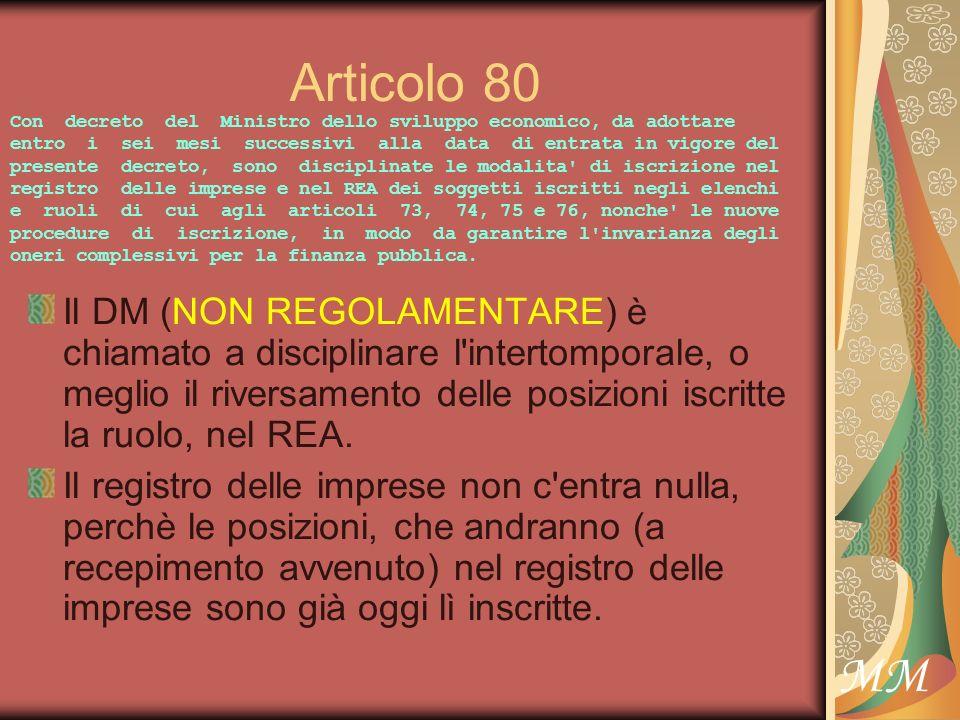 MM Articolo 80 Il DM (NON REGOLAMENTARE) è chiamato a disciplinare l intertomporale, o meglio il riversamento delle posizioni iscritte la ruolo, nel REA.
