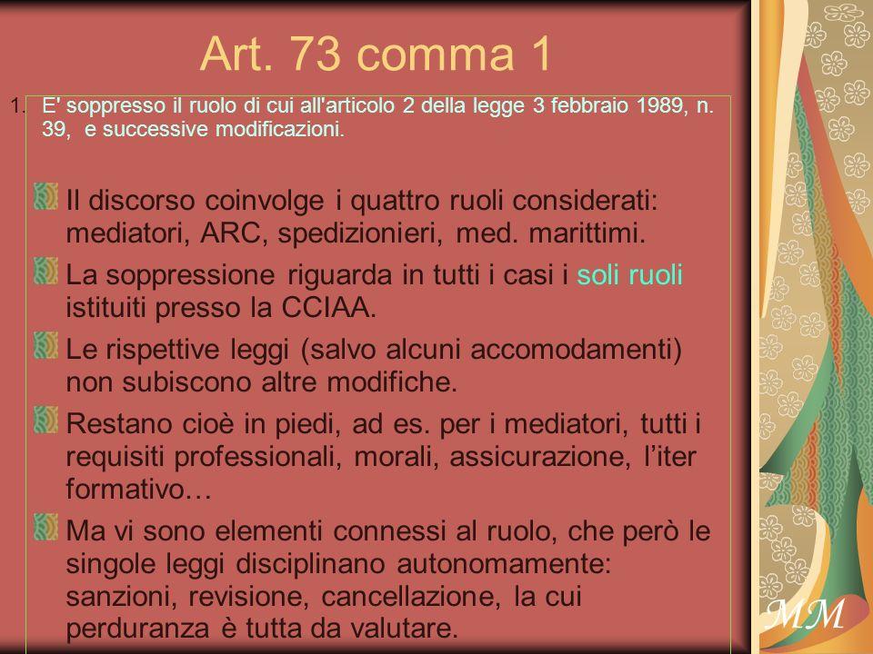 MM Art.73 comma 1, in relazione allart.