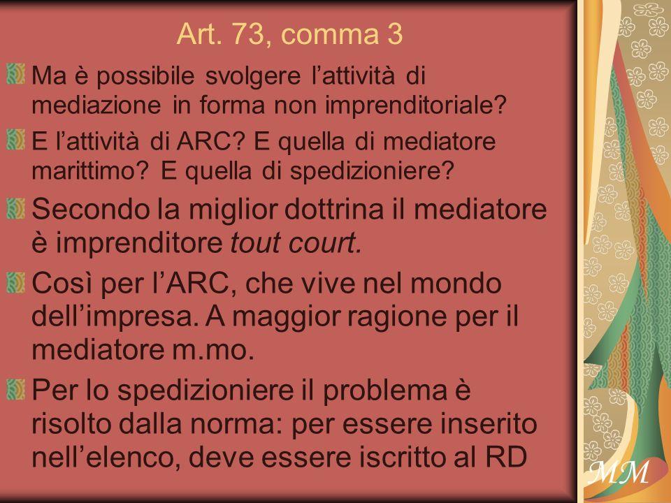 MM Art. 73, comma 3 Ma è possibile svolgere lattività di mediazione in forma non imprenditoriale.