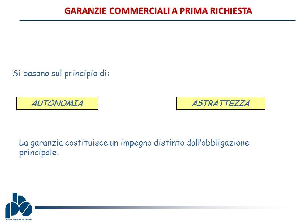 GARANZIE COMMERCIALI A PRIMA RICHIESTA Si basano sul principio di: AUTONOMIA ASTRATTEZZA La garanzia costituisce un impegno distinto dallobbligazione