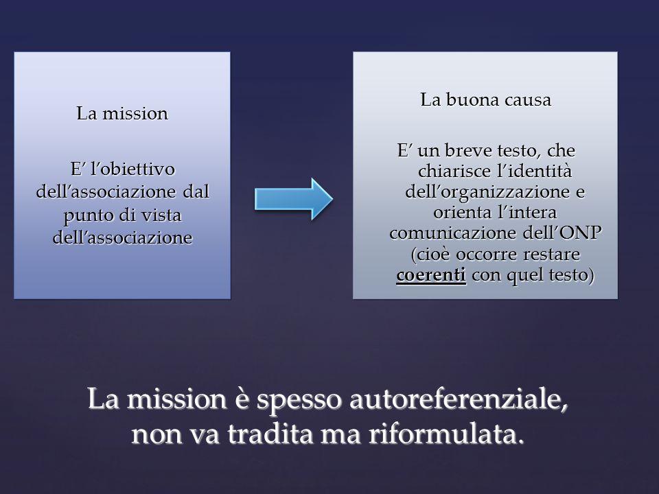 La mission è spesso autoreferenziale, non va tradita ma riformulata.