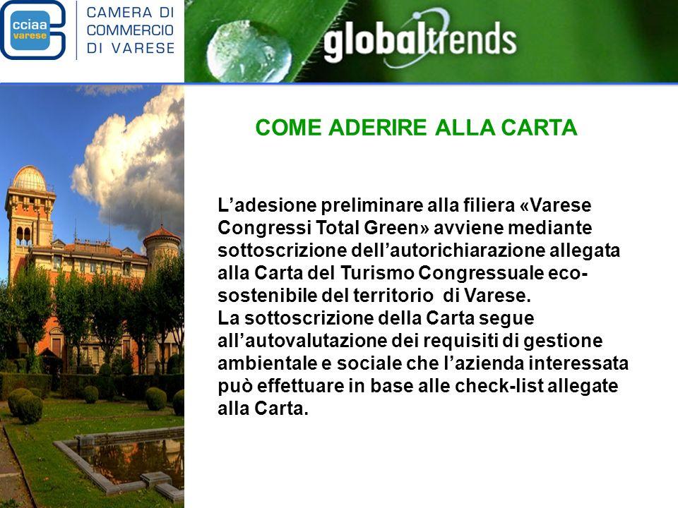 COME ADERIRE ALLA CARTA Ladesione preliminare alla filiera «Varese Congressi Total Green» avviene mediante sottoscrizione dellautorichiarazione allegata alla Carta del Turismo Congressuale eco- sostenibile del territorio di Varese.