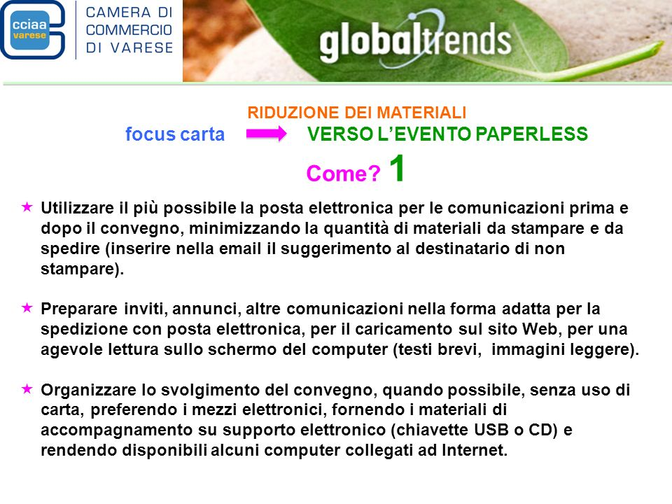 RIDUZIONE DEI MATERIALI focus carta VERSO LEVENTO PAPERLESS Come.