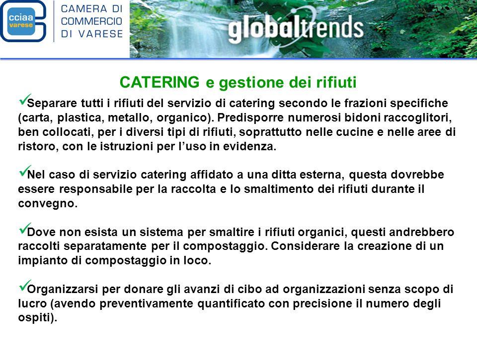 CATERING e gestione dei rifiuti Separare tutti i rifiuti del servizio di catering secondo le frazioni specifiche (carta, plastica, metallo, organico).