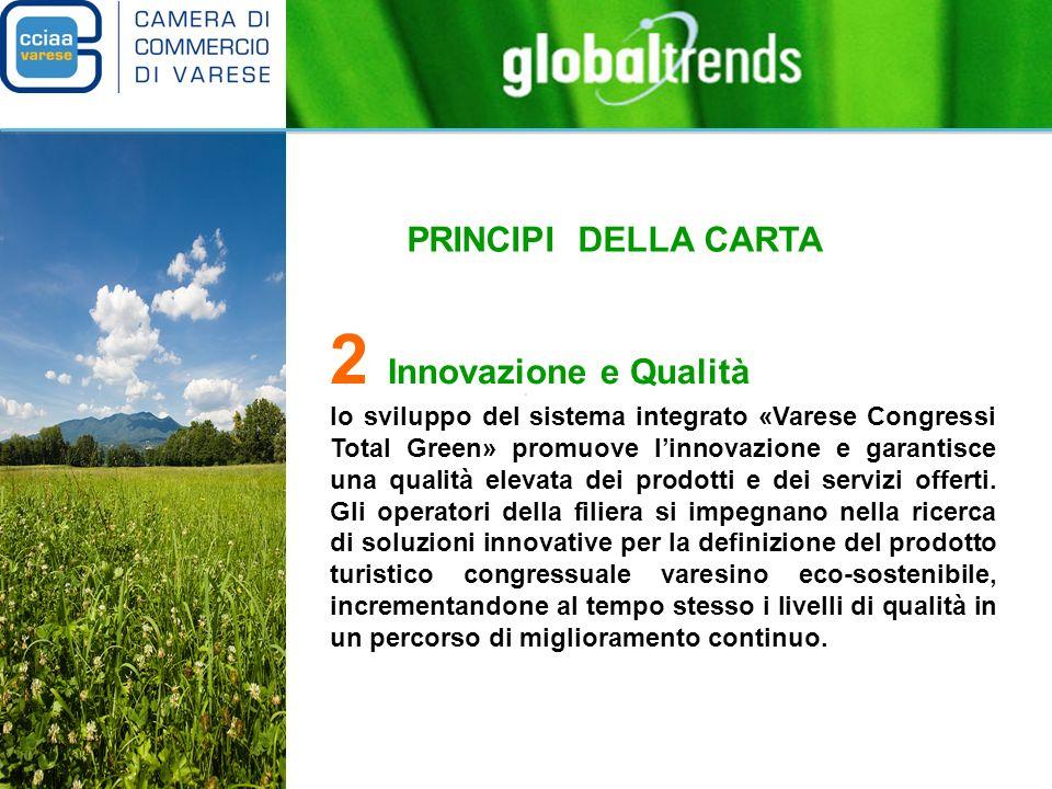 PRINCIPI DELLA CARTA 2 Innovazione e Qualità lo sviluppo del sistema integrato «Varese Congressi Total Green» promuove linnovazione e garantisce una qualità elevata dei prodotti e dei servizi offerti.