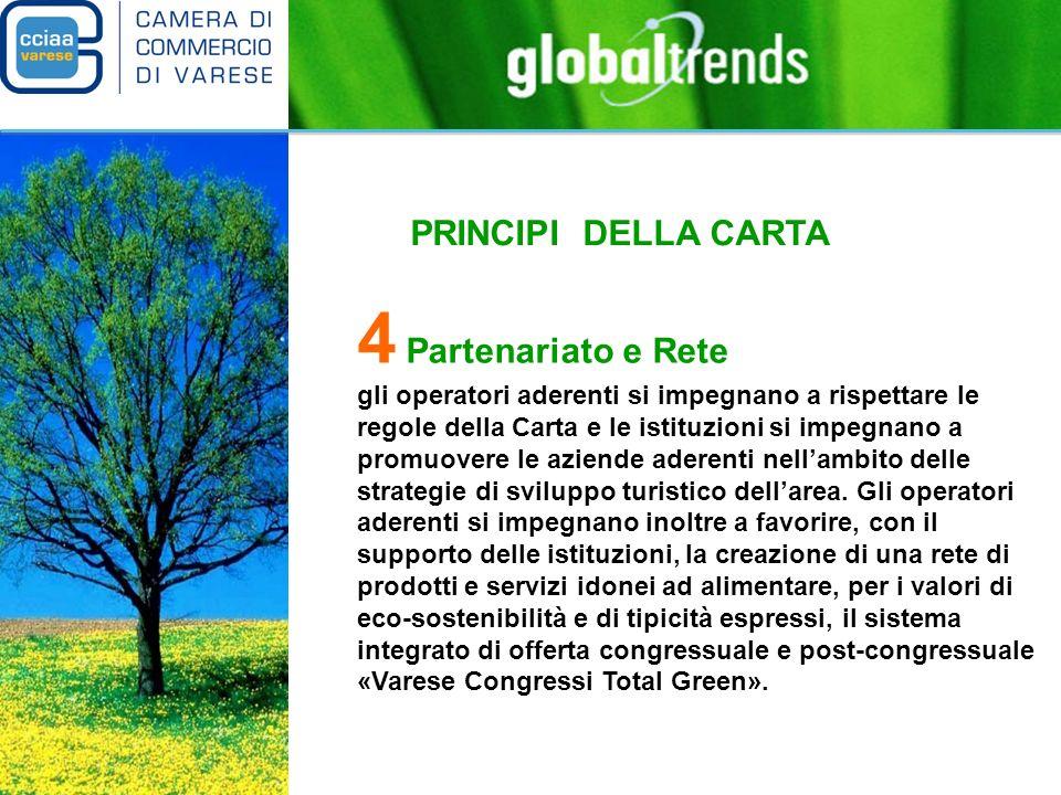 PRINCIPI DELLA CARTA 4 Partenariato e Rete gli operatori aderenti si impegnano a rispettare le regole della Carta e le istituzioni si impegnano a promuovere le aziende aderenti nellambito delle strategie di sviluppo turistico dellarea.