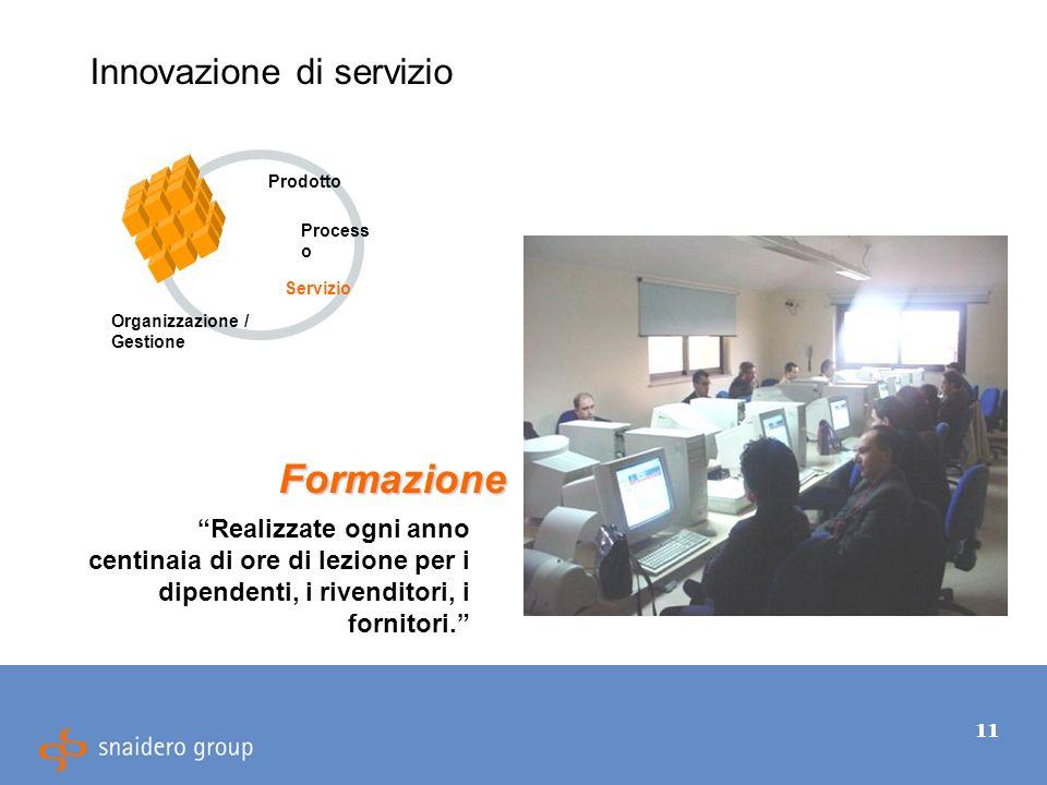 11 Innovazione di servizio Realizzate ogni anno centinaia di ore di lezione per i dipendenti, i rivenditori, i fornitori.