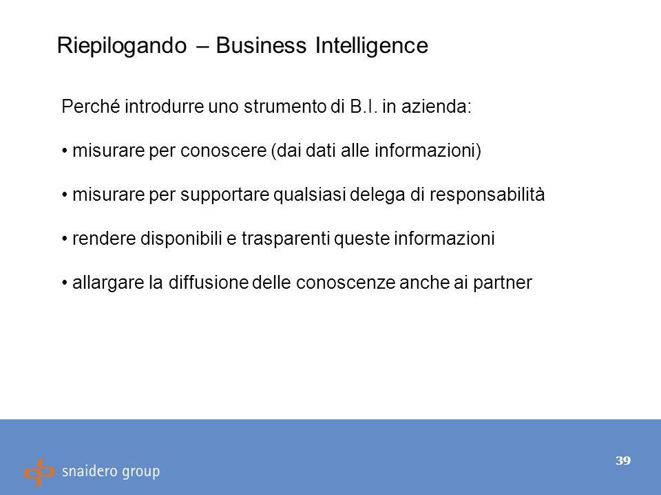 39 Riepilogando – Business Intelligence Perché introdurre uno strumento di B.I.