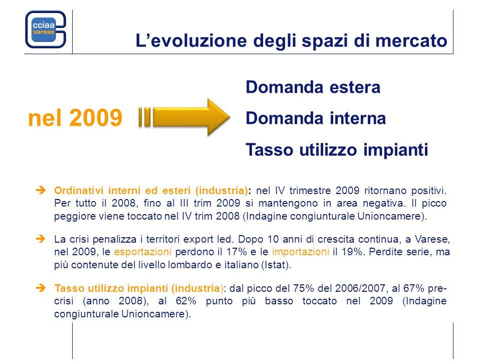 Levoluzione degli spazi di mercato Domanda estera Domanda interna Tasso utilizzo impianti nel 2009 Tasso utilizzo impianti (industria): dal picco del 75% del 2006/2007, al 67% pre- crisi (anno 2008), al 62% punto più basso toccato nel 2009 (Indagine congiunturale Unioncamere).