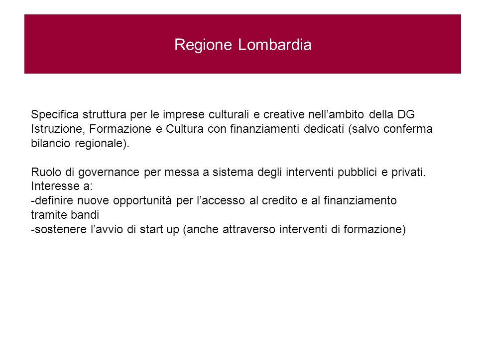 Regione Lombardia Specifica struttura per le imprese culturali e creative nellambito della DG Istruzione, Formazione e Cultura con finanziamenti dedicati (salvo conferma bilancio regionale).