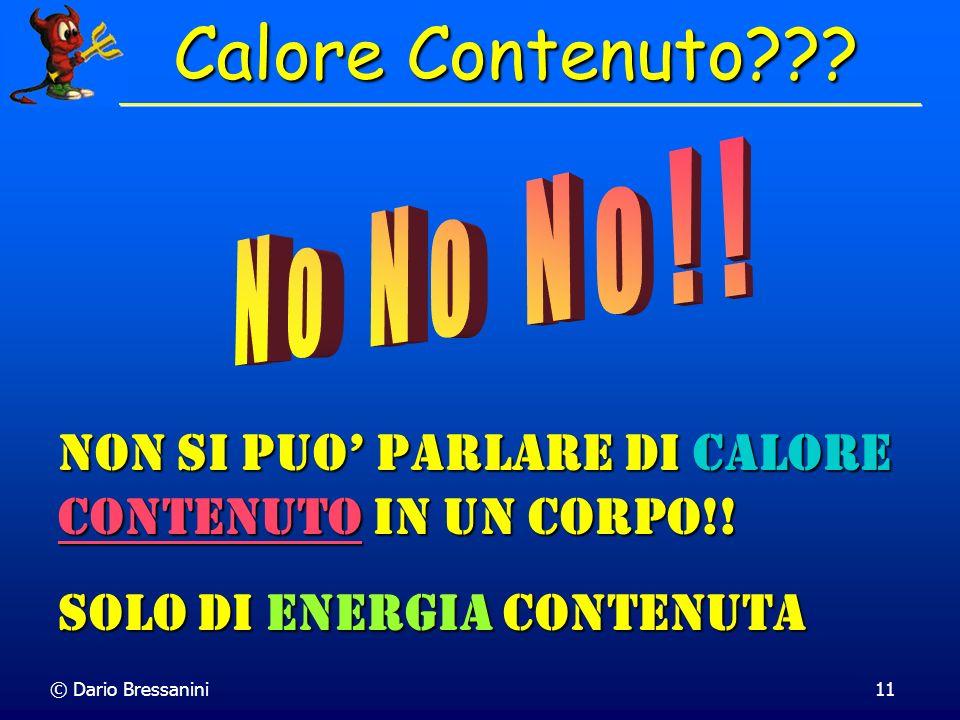 © Dario Bressanini11 Non si puo parlare di Calore Contenuto Contenuto in un corpo!! Solo di Energia Energia contenuta Calore Contenuto???