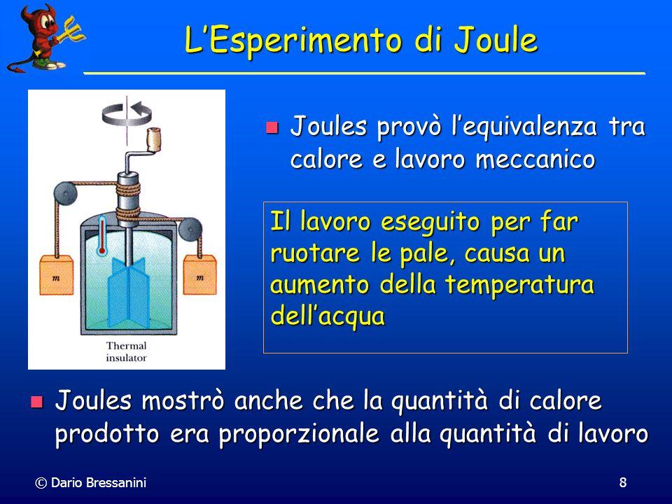 © Dario Bressanini8 LEsperimento di Joule Joules provò lequivalenza tra calore e lavoro meccanico Joules provò lequivalenza tra calore e lavoro meccan