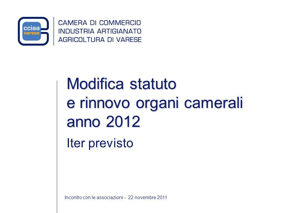 Incontro con le associazioni - 22 novembre 2011 Modifica statuto e rinnovo organi camerali anno 2012 Iter previsto
