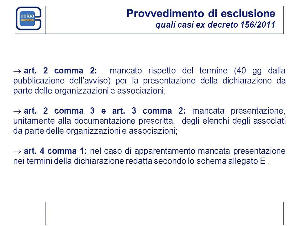 Provvedimento di esclusione quali casi ex decreto 156/2011 art.