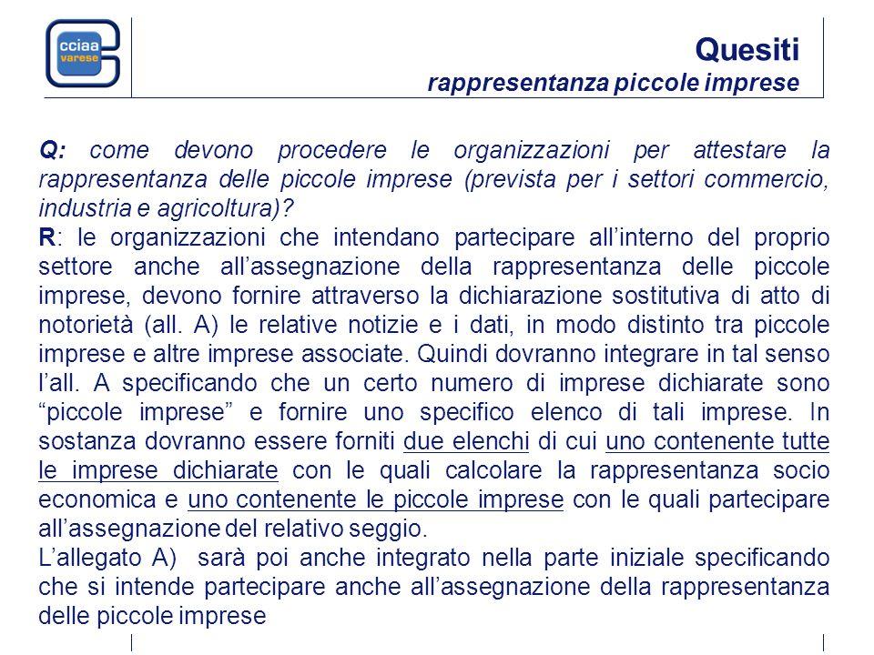 Q: come devono procedere le organizzazioni per attestare la rappresentanza delle piccole imprese (prevista per i settori commercio, industria e agricoltura).