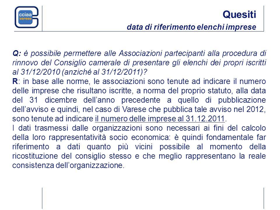 Q: è possibile permettere alle Associazioni partecipanti alla procedura di rinnovo del Consiglio camerale di presentare gli elenchi dei propri iscritti al 31/12/2010 (anziché al 31/12/2011).