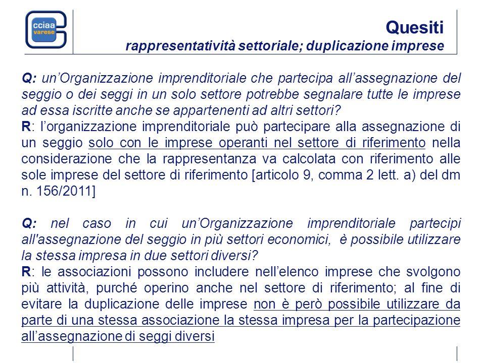 Q: unOrganizzazione imprenditoriale che partecipa allassegnazione del seggio o dei seggi in un solo settore potrebbe segnalare tutte le imprese ad essa iscritte anche se appartenenti ad altri settori.