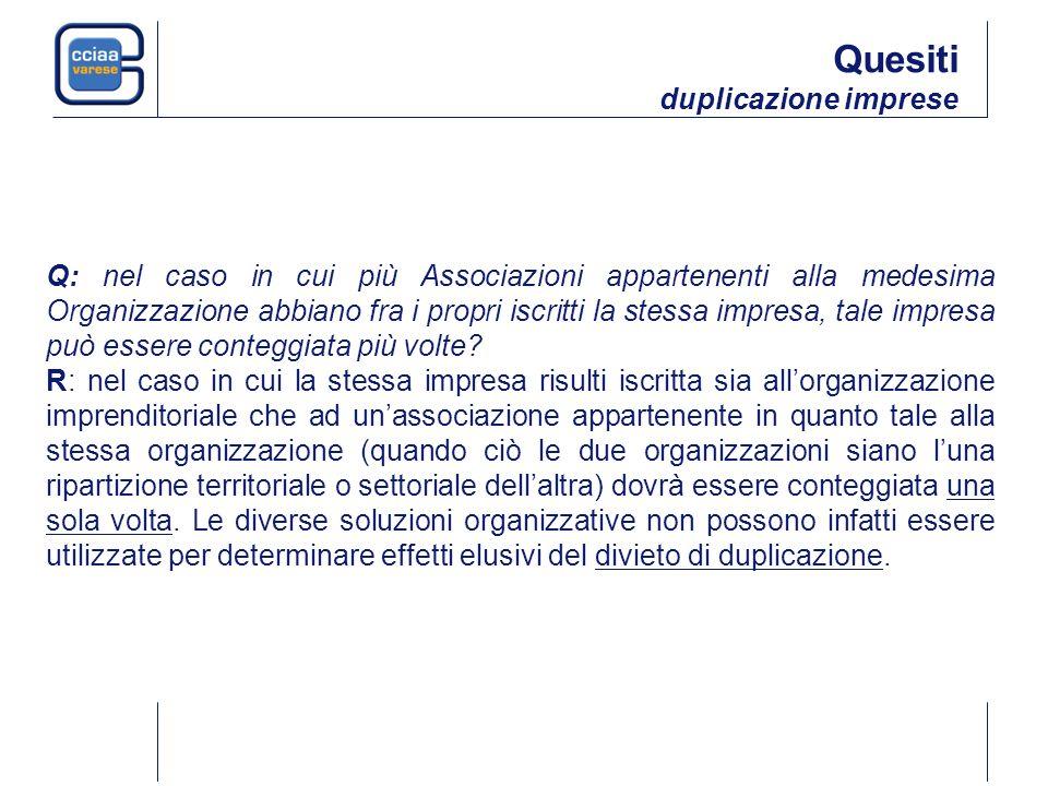 Q: nel caso in cui più Associazioni appartenenti alla medesima Organizzazione abbiano fra i propri iscritti la stessa impresa, tale impresa può essere conteggiata più volte.