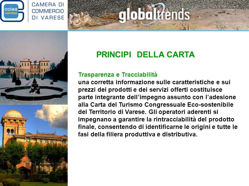 PRINCIPI DELLA CARTA Partenariato e Rete gli operatori economici che concorrono allo sviluppo del turismo congressuale eco-sostenibile nel territorio di Varese si impegnano a rispettare le regole della Carta e le istituzioni si impegnano a promuovere le aziende aderenti nellambito delle strategie di sviluppo turistico dellarea.