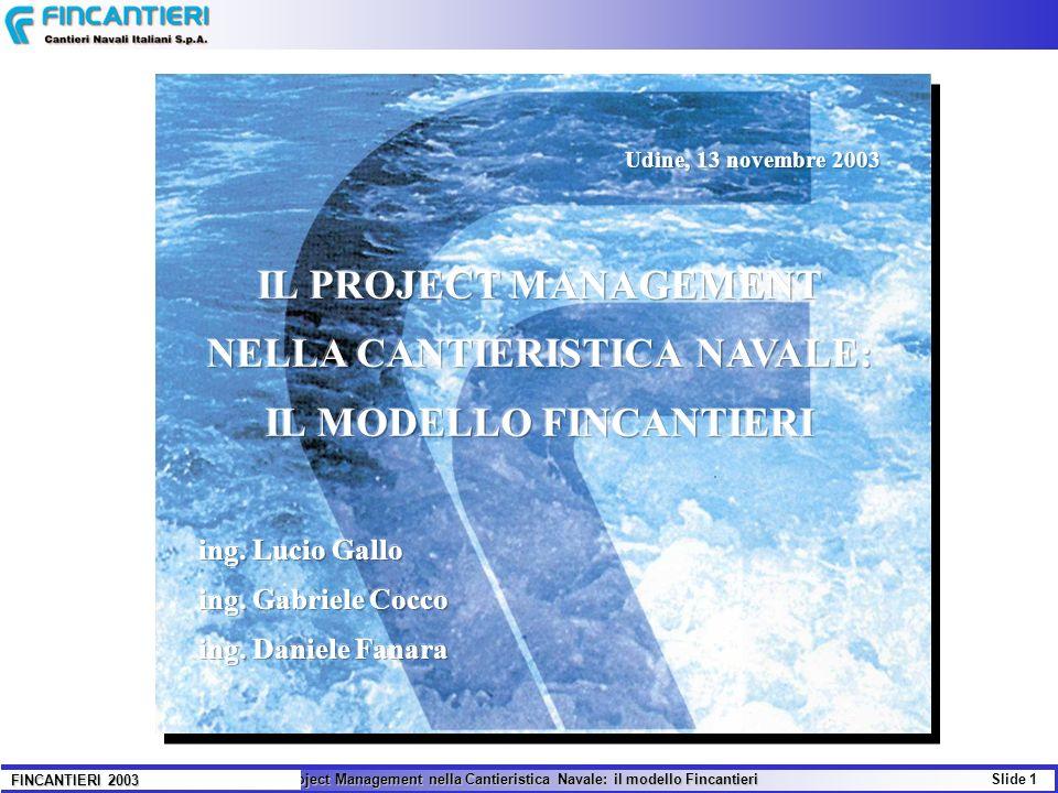 Il Project Management nella Cantieristica Navale: il modello Fincantieri Slide 12 FINCANTIERI 2003 CARATTERISTICHE TECNICHE 82.000 ton Stazza lorda 82.000 ton 290,00 m Lunghezza fuori tutto 290,00 m 254,00 m Lunghezza tra perpendicolari254,00 m 32,25 m Larghezza massima 32,25 m 48,00 m Altezza massima 48,00 m 7,80 m Immersione di progetto 7,80 m 7.200 ton Portata Lorda 7.200 ton 24 nodi Velocità massima 24 nodi 2 azipod x 17,6 MW Propulsione 2 azipod x 17,6 MW - 5 Diesel Alternatori Sulzer ZA40 (3x11520 + 2x8640 kW) Centrale Elettrica: - 5 Diesel Alternatori Sulzer ZA40 (3x11520 + 2x8640 kW) - 1 Turbina a Gas General Electric tipo S&S LM2500PE (1x14000 kW) CAPACITA 3.200 Massimo numero di persone a bordo3.200 2.388 Massima capacità passeggeri 2.388 812 Massima capacità equipaggio 812 924 Totale cabine passeggeri 924 468 Cabine equipaggio 468 HOLLAND AMERICA LINE: Zuiderdam, Oosterdam,Westerdam,6079 CUNARD: Queen Victoria La commessa HAL
