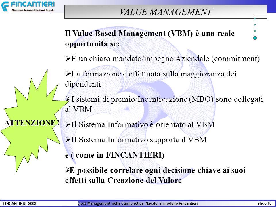 Il Project Management nella Cantieristica Navale: il modello Fincantieri Slide 10 FINCANTIERI 2003 VALUE MANAGEMENT Il Value Based Management (VBM) è