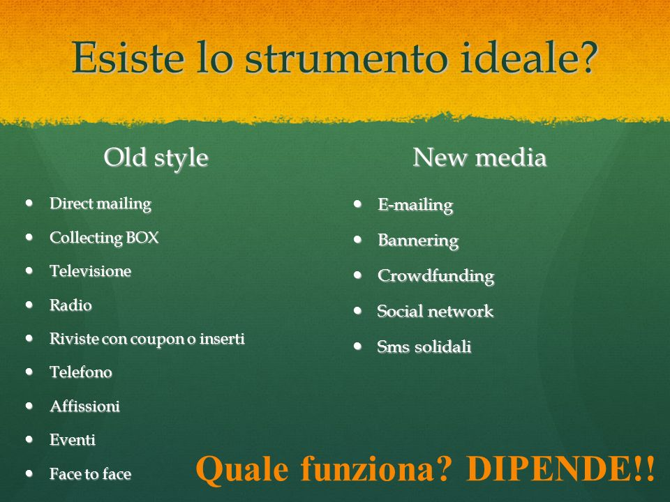 Esiste lo strumento ideale? Old style Direct mailing Direct mailing Collecting BOX Collecting BOX Televisione Televisione Radio Radio Riviste con coup