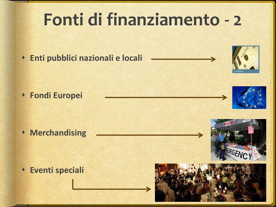 Fonti di finanziamento - 2 Enti pubblici nazionali e locali Fondi Europei Merchandising Eventi speciali