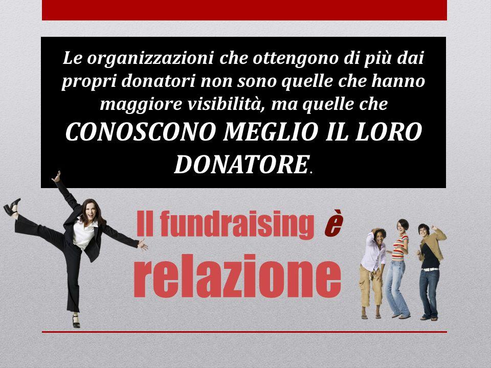 Il fundraising è relazione Le organizzazioni che ottengono di più dai propri donatori non sono quelle che hanno maggiore visibilità, ma quelle che CON