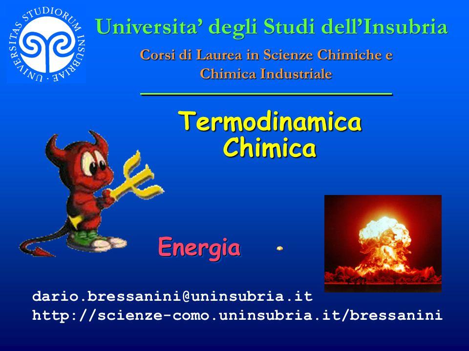 Termodinamica Chimica EnergiaEnergia Universita degli Studi dellInsubria Corsi di Laurea in Scienze Chimiche e Chimica Industriale dario.bressanini@un