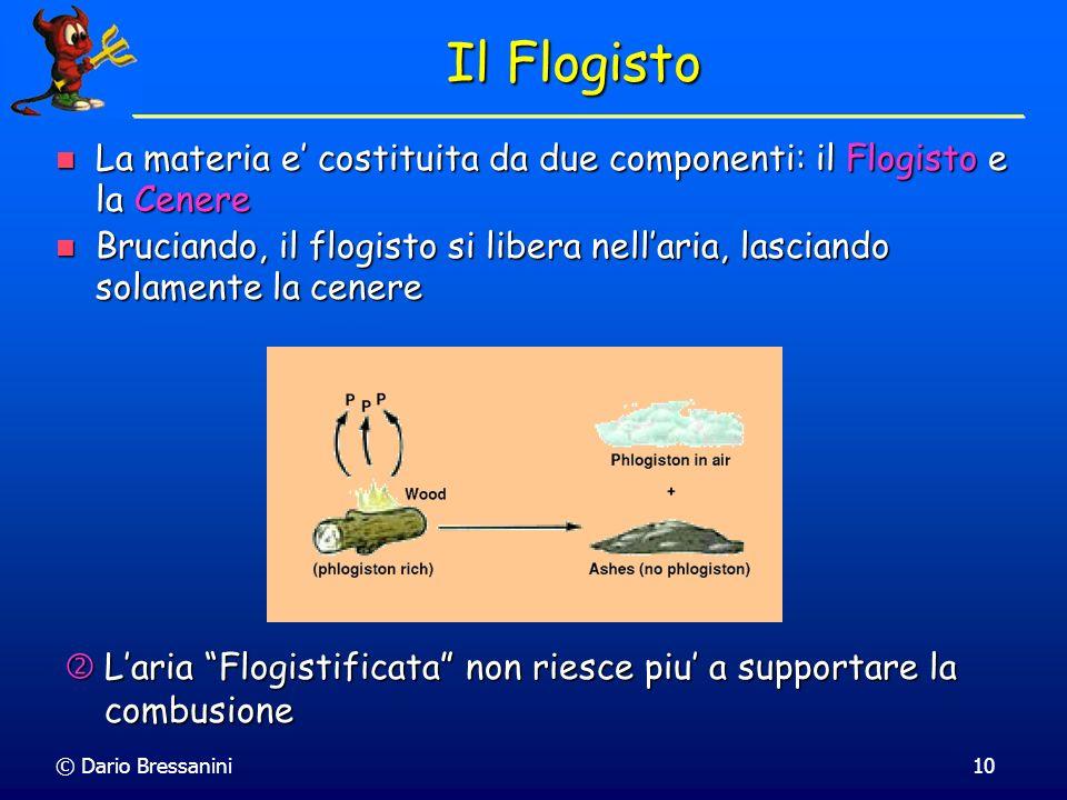 © Dario Bressanini10 Il Flogisto La materia e costituita da due componenti: il Flogisto e la Cenere La materia e costituita da due componenti: il Flog