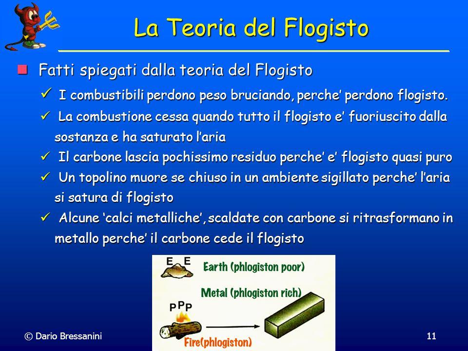 © Dario Bressanini11 La Teoria del Flogisto Fatti spiegati dalla teoria del Flogisto Fatti spiegati dalla teoria del Flogisto I combustibili perdono p
