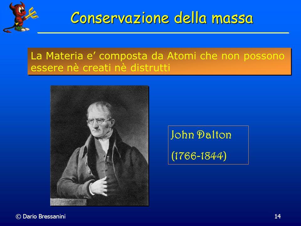 © Dario Bressanini14 Conservazione della massa La Materia e composta da Atomi che non possono essere nè creati nè distrutti John Dalton (1766-1844)