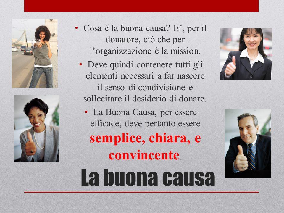 La buona causa Cosa è la buona causa. E, per il donatore, ciò che per lorganizzazione è la mission.