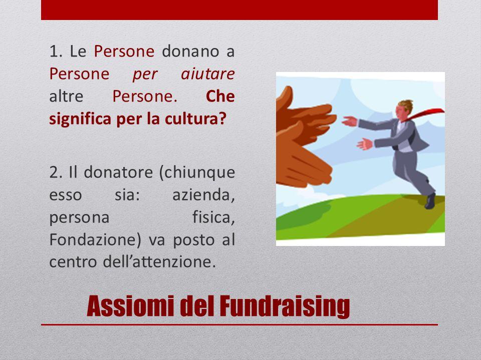 Assiomi del Fundraising 1. Le Persone donano a Persone per aiutare altre Persone.