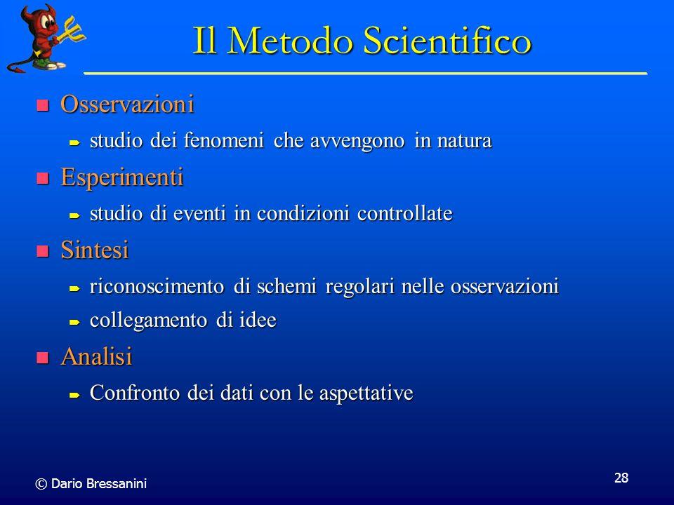 © Dario Bressanini 28 Il Metodo Scientifico Osservazioni Osservazioni studio dei fenomeni che avvengono in natura studio dei fenomeni che avvengono in