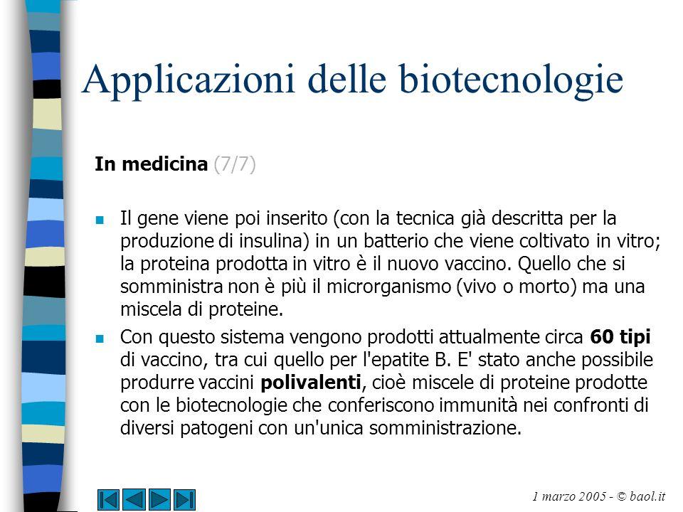Applicazioni delle biotecnologie In medicina (7/7) n Il gene viene poi inserito (con la tecnica già descritta per la produzione di insulina) in un bat