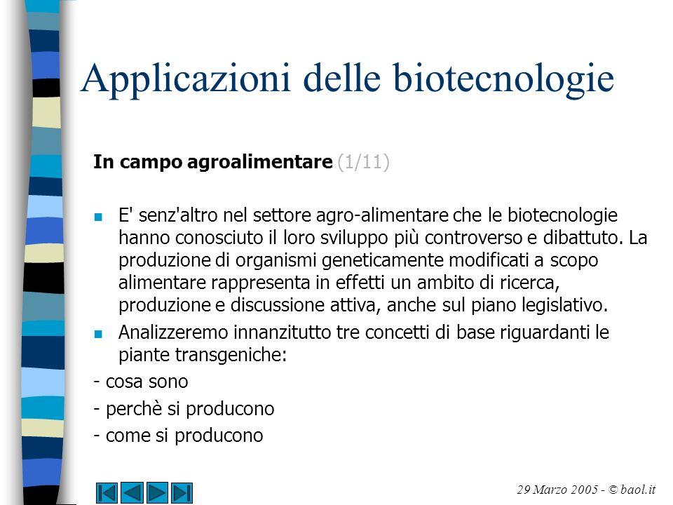 Applicazioni delle biotecnologie In campo agroalimentare (2/11) Piante transgeniche > cosa sono n Una pianta transgenica è una pianta nella quale è stata inserita artificialmente una sequenza di DNA contentente uno o più geni esogeni.